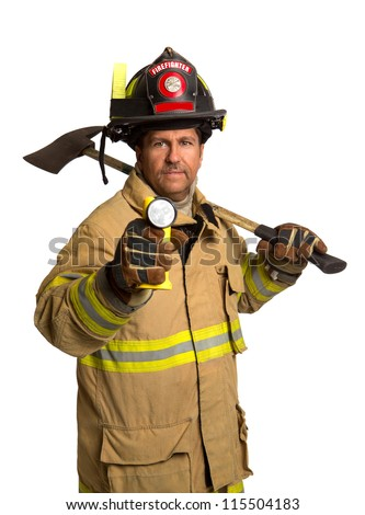 Serious looking confident firefighter standing holding ax and flash light portrait isolated on white - stock photo