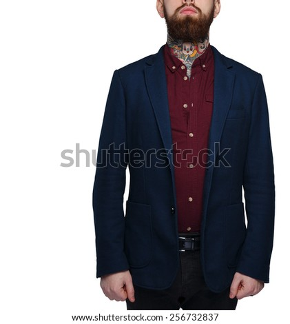 Serious male in blue costume isolated on white - stock photo