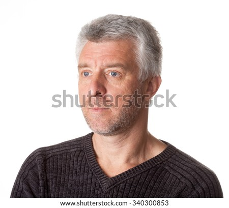 serious  older gray-haired man  looking  grey eyes - stock photo