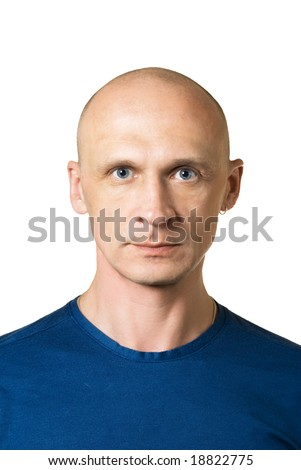 Serious. Portrait from bald man facial expressions series. Isolated on white - stock photo