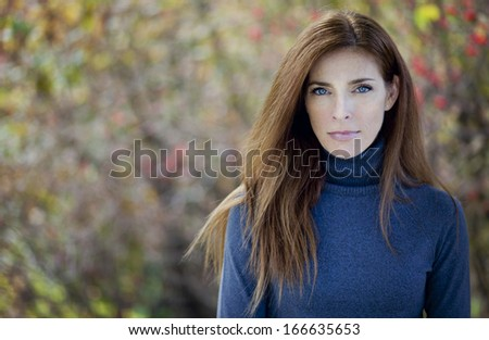 Serious Pretty Mature Woman - stock photo