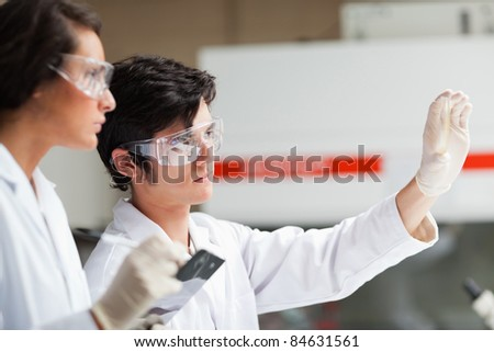 Serious science students looking at Petri dish in a laboratory - stock photo