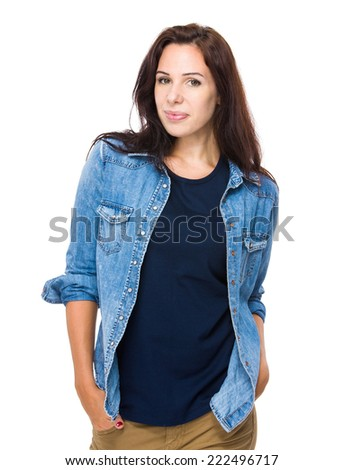 Serious woman portrait - stock photo