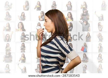 Serious woman with a whistle - stock photo