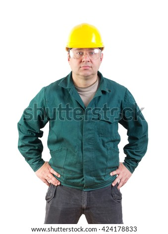 serious worker portrait, clipping path included - stock photo