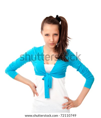 Serious young girl isolated on a white background - stock photo