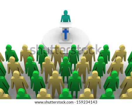 Sermon in church. Pastor, preacher. Concept 3D illustration. - stock photo