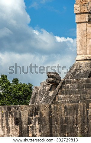 Serpent Head. Chichen Itza archaeological site, Yucatan peninsula, Mexico. - stock photo