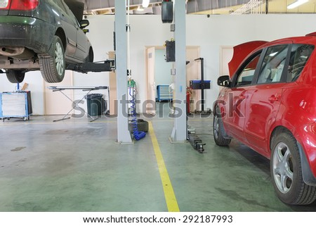 Serpuhov, Russia, June, 23, 2015: Cars in a dealer repair station in Serpuhov, Russia - stock photo