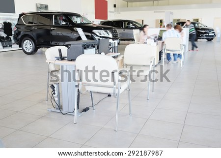 Serpuhov, Russia, June, 2015: Working place of managers in a dealer's car showroom in Serpuhov, Russia - stock photo