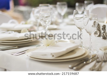 served banquet table - stock photo