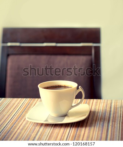 served cup of coffee - stock photo