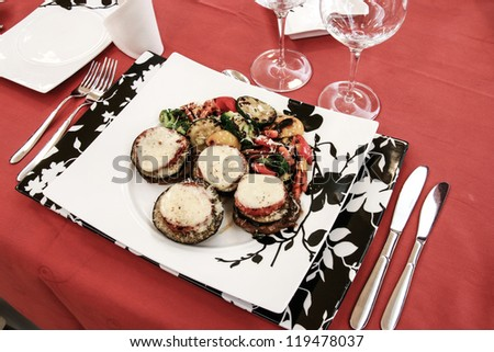 Served dinner - stock photo