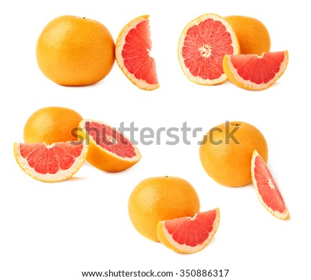 Served fresh grapefruit composition isolated over the white background - stock photo