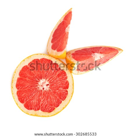 Served fresh grapefruit composition isolated over the white background, top view - stock photo