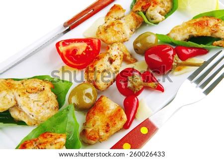 served roast chicken brisket on green leaf of basil - stock photo