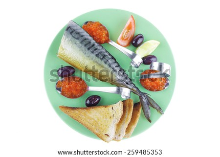 served smoked fish and caviar portions on green - stock photo