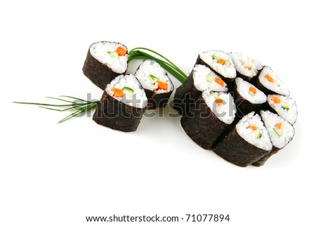 served sushi rolls on white background  with fennel - stock photo