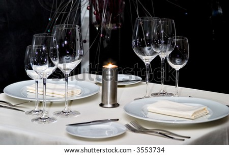 Served table for two persons - stock photo