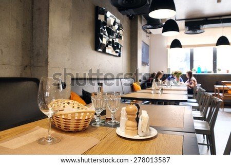 Served table in restaurant - stock photo