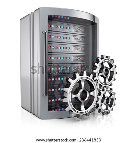 Server and cogwheels isolated on white background. 3d render - stock photo