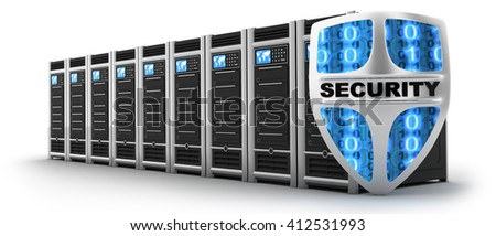 Server and shield security (done in 3d) - stock photo