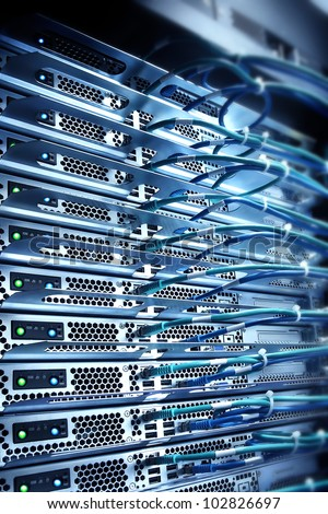 server connected with cables,computing concept - stock photo