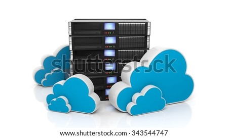 Server rack and cloud icons isolated on white background. - stock photo