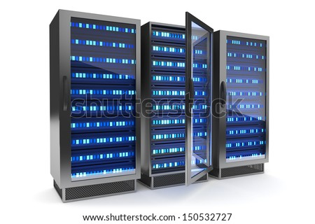 Server rack icon. Hosting concept. - stock photo