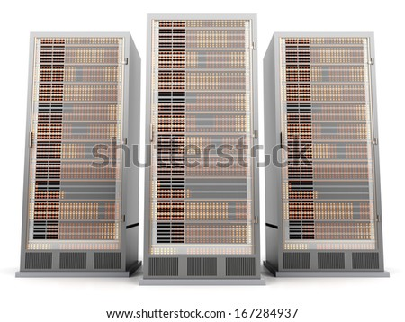 Server racks in a row. 3d illustration. - stock photo