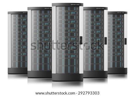 Server racks in row, tower boxes isolated, datacenter - stock photo
