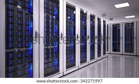Server Room in datacenter - stock photo