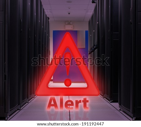 Server Room With Alert popup ; Security concept - stock photo