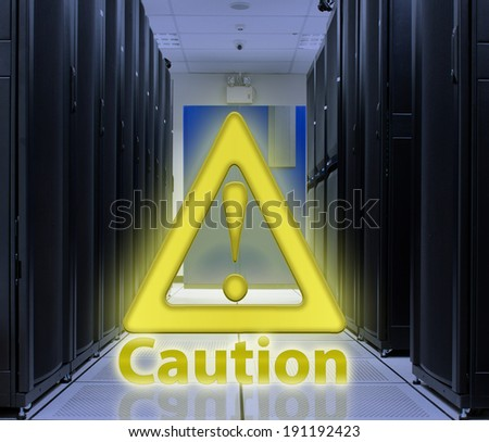 Server Room With Caution popup ; Security concept - stock photo
