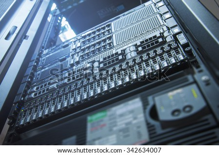 Server technology in datacenter from bottom view with depth of field - stock photo