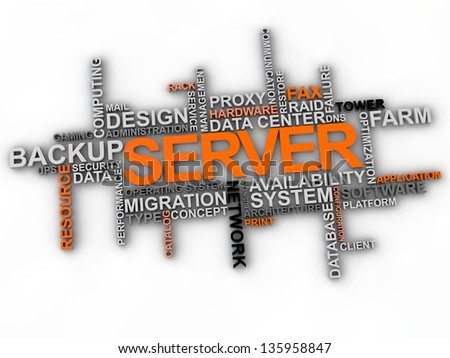 Server word cloud over white background - stock photo