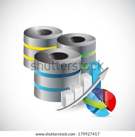 servers and business graphs illustration design over a white background - stock photo