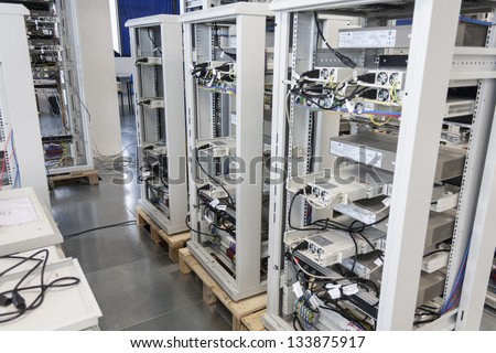 Servers Farm in a Data center - stock photo