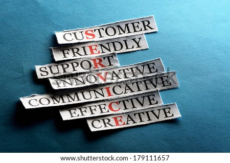 Service acronym  in business concept, words on cut paper hard light - stock photo
