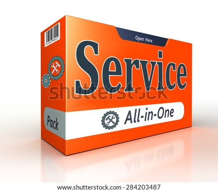service advertising orange pack concept on white background. clipping path included  - stock photo