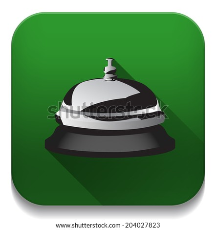 service bell icon With long shadow over app button - stock photo