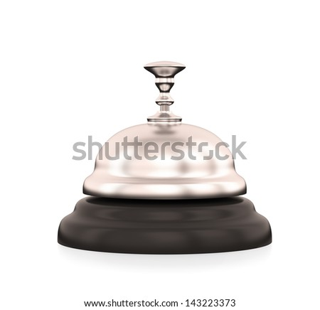 Service bell isolated on white , Render - stock photo