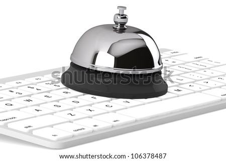 Service Bell ring with keyboard on the white background - stock photo