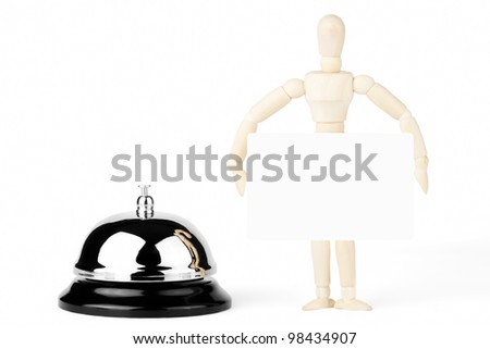 Service Bell, wooden dummy with blank sign on the white background - stock photo