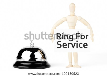 Service Bell, wooden dummy with ring for service sign on the white background - stock photo