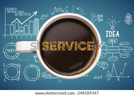 service. coffee mug with business sketches background - stock photo