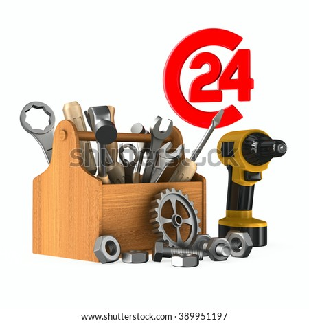 Service 24 hours. Isolated 3D image - stock photo