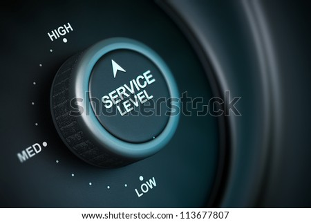 service level button with low, medium and high positions, button is positioned in the highest position, black and blue background, blur effect - stock photo