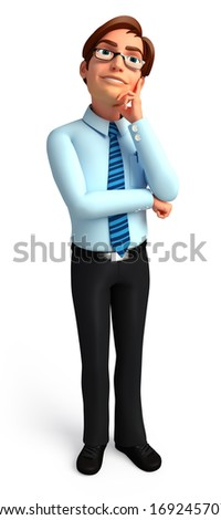 Service man with thinking - stock photo