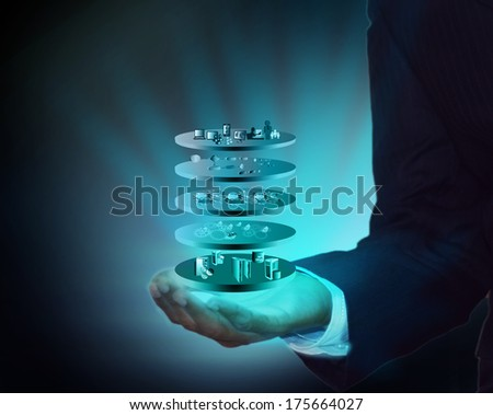 Service Oriented Layer Architecture in Business man hand - stock photo